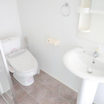 その横にはトイレ。ガラス張りでゆるっと空間が仕切られています。