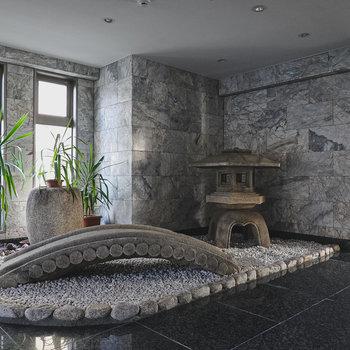 エントランス内では日本庭園風の石庭がお出迎えしてくれます。