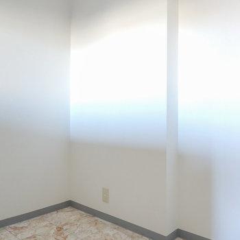 後ろ側のスペースには冷蔵庫や家電やキッチンツール用のラックを置けます。