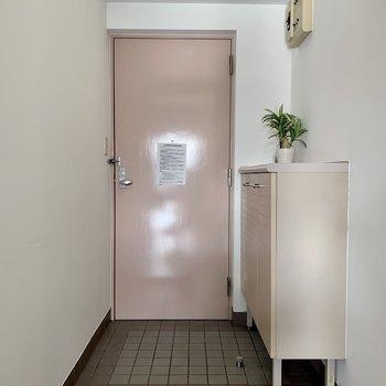 玄関扉はやさしいピンク。※写真は反転同間取り別部屋のもの。