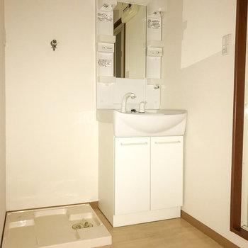窮屈さのない洗面脱衣所。洗面台の蛇口はホースになっています。(※フラッシュを使用しています。)