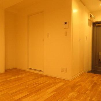 あの扉が水回りの入り口です ※別部屋写真。実際は家具家電付きです