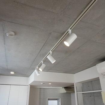 コンクリート打ちっぱなしの天井…かっこいい…