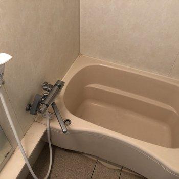 洗い場、浴槽どちらも広めです。※写真は5階の同間取り別部屋のものです
