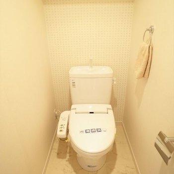 トイレはウォシュレット付きです!(※写真は7階の同間取りモデルルームのものです)