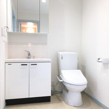 独立洗面台もトイレも真っ白で綺麗でした。