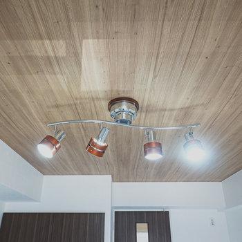 木目の天井にはテイストの合ったシーリングライト。照明を買わずとも良い雰囲気で住めます。