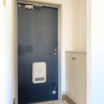 玄関は普通サイズ。靴箱付きですよ〜!