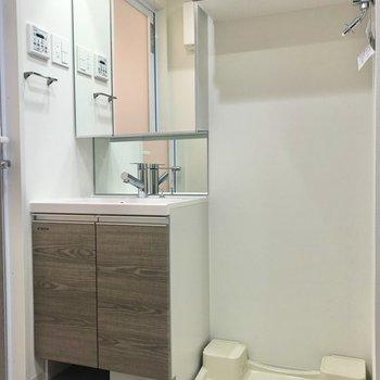 洗面台と洗濯機置き場にも収納が沢山あります。