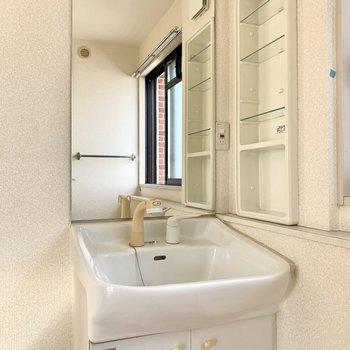 階段上った先に独立洗面台。ノズルが伸びるから洗いやすい。(※写真は清掃前のものです)