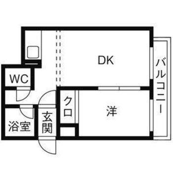 シンプルな1DKのお部屋。