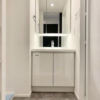 洗面台にはタオル掛けも付いていますよ。※写真は2階の同間取り別部屋のものです