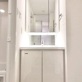 洗面台は鏡部分も収納になっています。