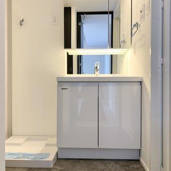 洗面台の鏡は収納になっています。※写真は2階の同間取り別部屋のものです