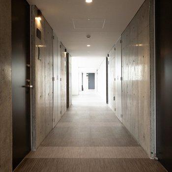 落ち着きのある室内共用廊下です。