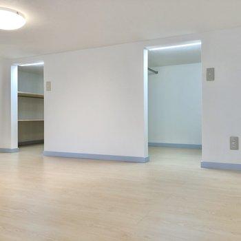 【ロフト】上がって目に入るのは2つの収納スペースです。