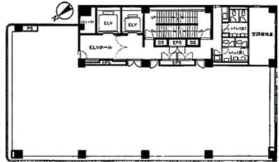 築地 42.44坪 オフィス の間取り