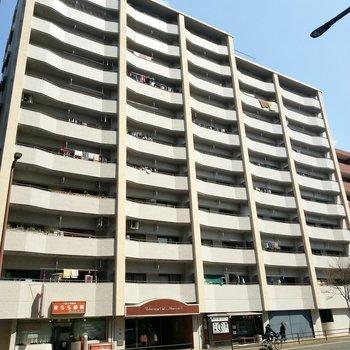 平尾駅徒歩圏内。大通り沿いのオートロック付きの建物。