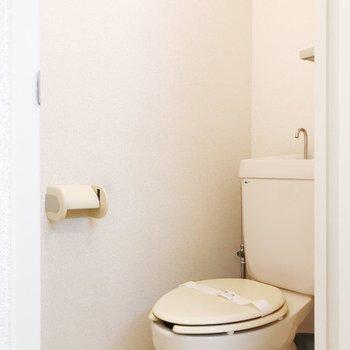 落ち着きのある個室トイレ。※写真は2階の同間取り別部屋のものです