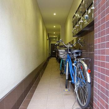 【共用部】建物エントランス。自転車は通路脇にずらっと置かれています。