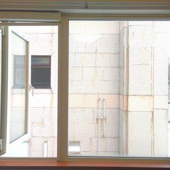 洋室窓は左側がすべり出し窓になっています。お向かいの建物が近めなのでレースカーテンが欲しいですね。