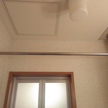 脱衣所の上にはうれしい室内干し用のポールあり