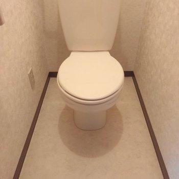 白ベースのおトイレ。ウォッシュレットはついていません