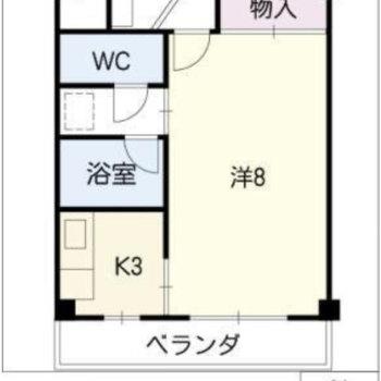 洋室を水回りが囲む、一人暮らし向きのお部屋。
