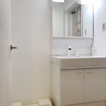 洗面台と洗濯機はおとなりさん。 ※写真は2階の別室、同間取りのものです。