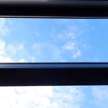 上を見上げると青空が見えます。