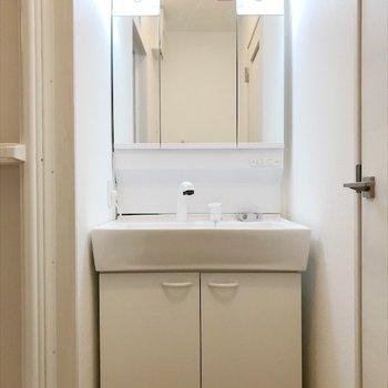洗面台の向かい側に、洗濯置き場もあります。※写真は同間取り・別部屋のものです。