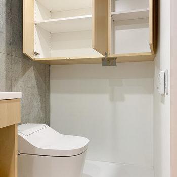 隣はトイレとたくさんの収納があります。