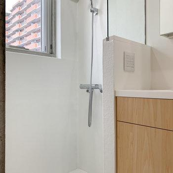 小窓付きのシャワースペース。