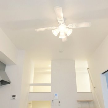 天井にはシーリングファン。お洒落だし、空気を循環させてくれます。
