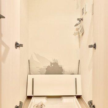 洗濯機置き場はドア付きなので音も気になりにくそう。
