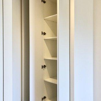 お部屋に入って左手には多目的に使えそうな戸棚と