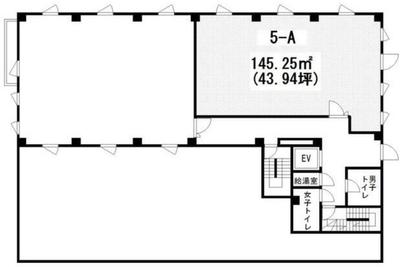 築地 43.93坪 オフィス の間取り
