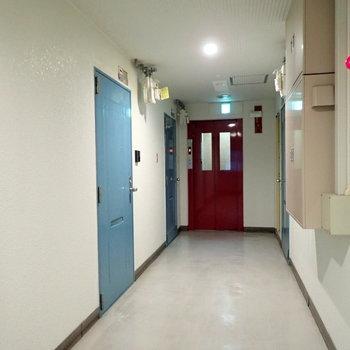 【共用部】良い色合いの廊下です。