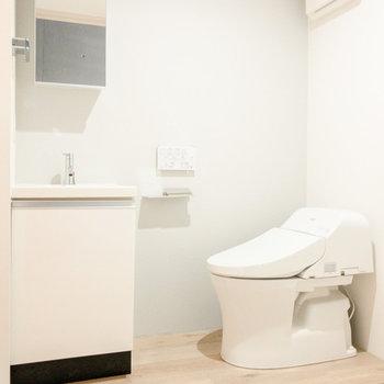 シンプルな洗面台と温水洗浄付きのトイレ。