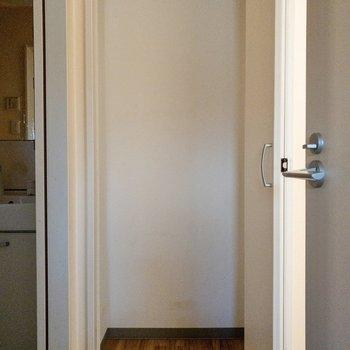 こちらがサニタリー横の収納。棚はないですが、背が高いものでも入りそうですね。