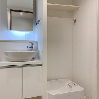 洗面台の右に洗濯機置き場。