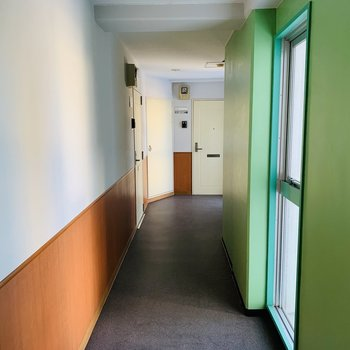 共用部はグリーンで明るい印象
