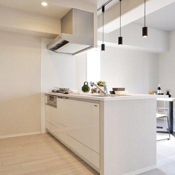 キッチン背面に家電や食器棚も置ける広さがあります。※家具・雑貨はサンプルです