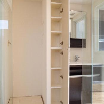 では、サニタリーへ!ランドリーツールやタオルを置くのにぴったりの棚があります。