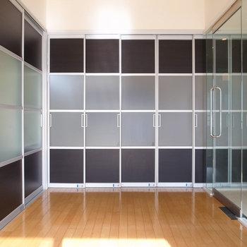 【洋室】クローゼットも同じドアのため、もはやこういう柄の壁に見えます。