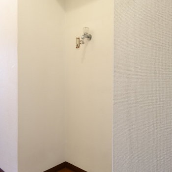 玄関横の廊下に洗濯機置場(※写真は4階の同間取り別部屋のものです)
