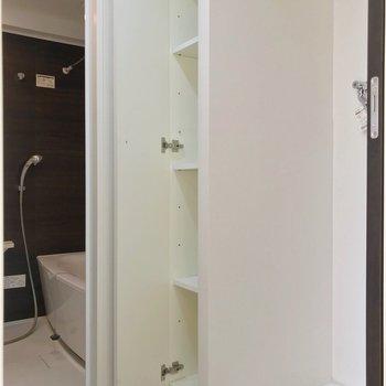 手前に脱衣所。洗濯機置場横の扉棚が便利です。(※写真は3階の反転間取り別部屋のものです)