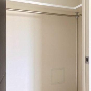 扉の中にはウォークインクローゼット。(※写真は3階の反転間取り別部屋のものです)