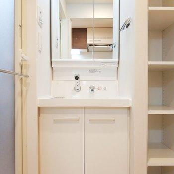 後ろのサニタリールームはドアを開けると独立洗面台がお出迎え。※写真は3階の同間取り別部屋のものです