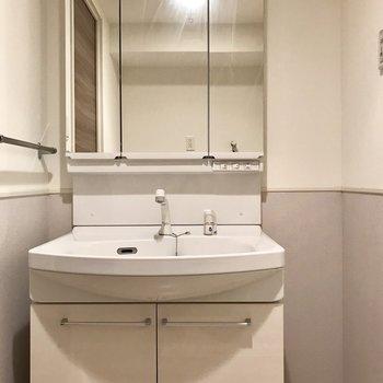 どっしりとした洗面台。隣のスペースにスマートなラックを置きたい。(※写真は2階の反転間取り別部屋、清掃前のものです)